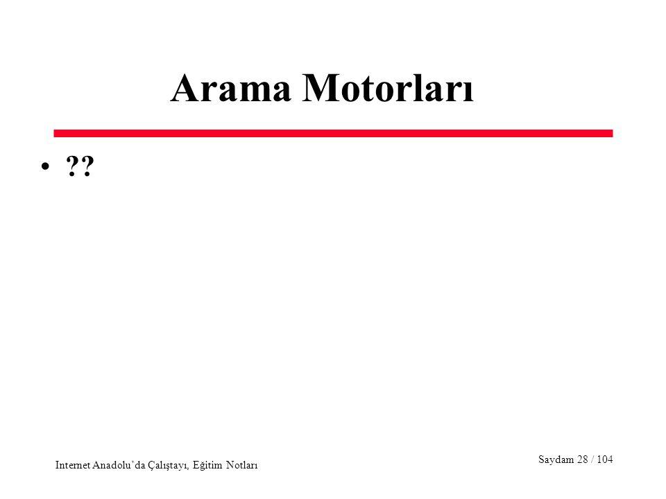 Saydam 28 / 104 Internet Anadolu'da Çalıştayı, Eğitim Notları Arama Motorları