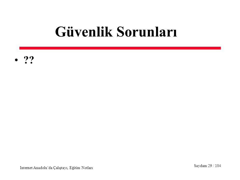 Saydam 29 / 104 Internet Anadolu'da Çalıştayı, Eğitim Notları Güvenlik Sorunları