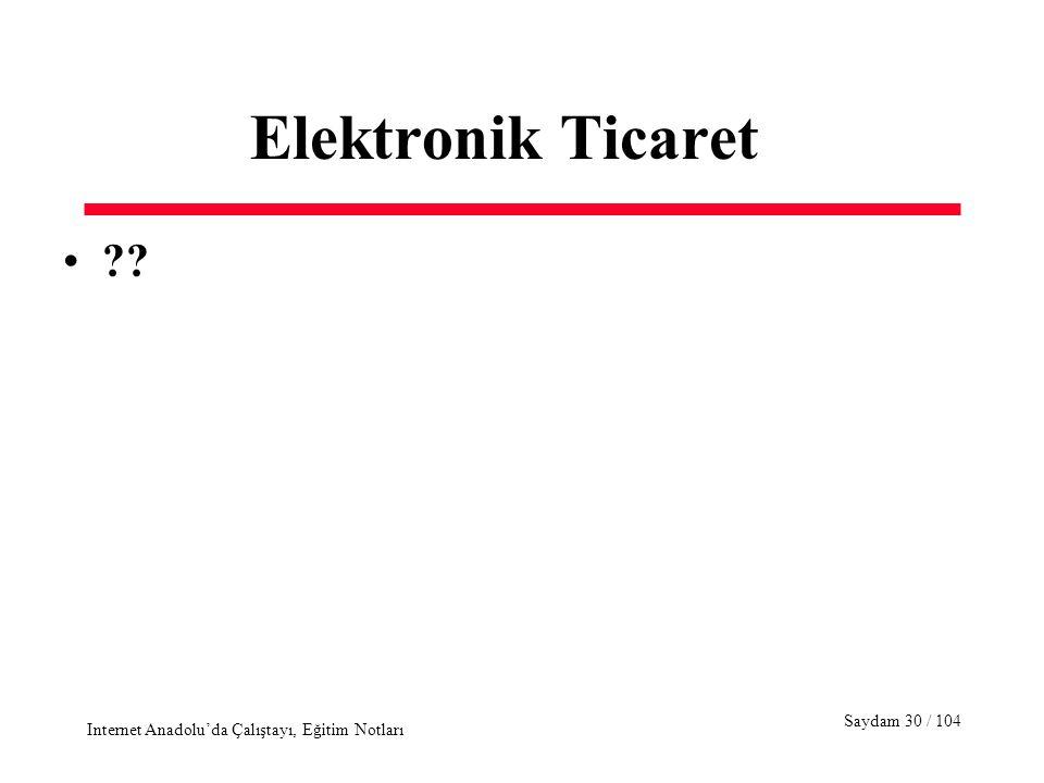 Saydam 30 / 104 Internet Anadolu'da Çalıştayı, Eğitim Notları Elektronik Ticaret ??
