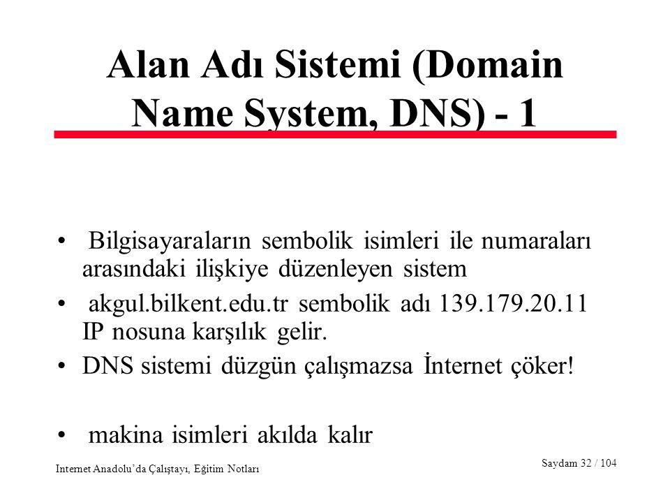 Saydam 32 / 104 Internet Anadolu'da Çalıştayı, Eğitim Notları Alan Adı Sistemi (Domain Name System, DNS) - 1 Bilgisayaraların sembolik isimleri ile numaraları arasındaki ilişkiye düzenleyen sistem akgul.bilkent.edu.tr sembolik adı 139.179.20.11 IP nosuna karşılık gelir.