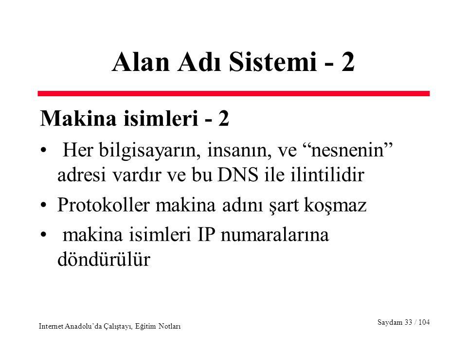 Saydam 33 / 104 Internet Anadolu'da Çalıştayı, Eğitim Notları Alan Adı Sistemi - 2 Makina isimleri - 2 Her bilgisayarın, insanın, ve nesnenin adresi vardır ve bu DNS ile ilintilidir Protokoller makina adını şart koşmaz makina isimleri IP numaralarına döndürülür