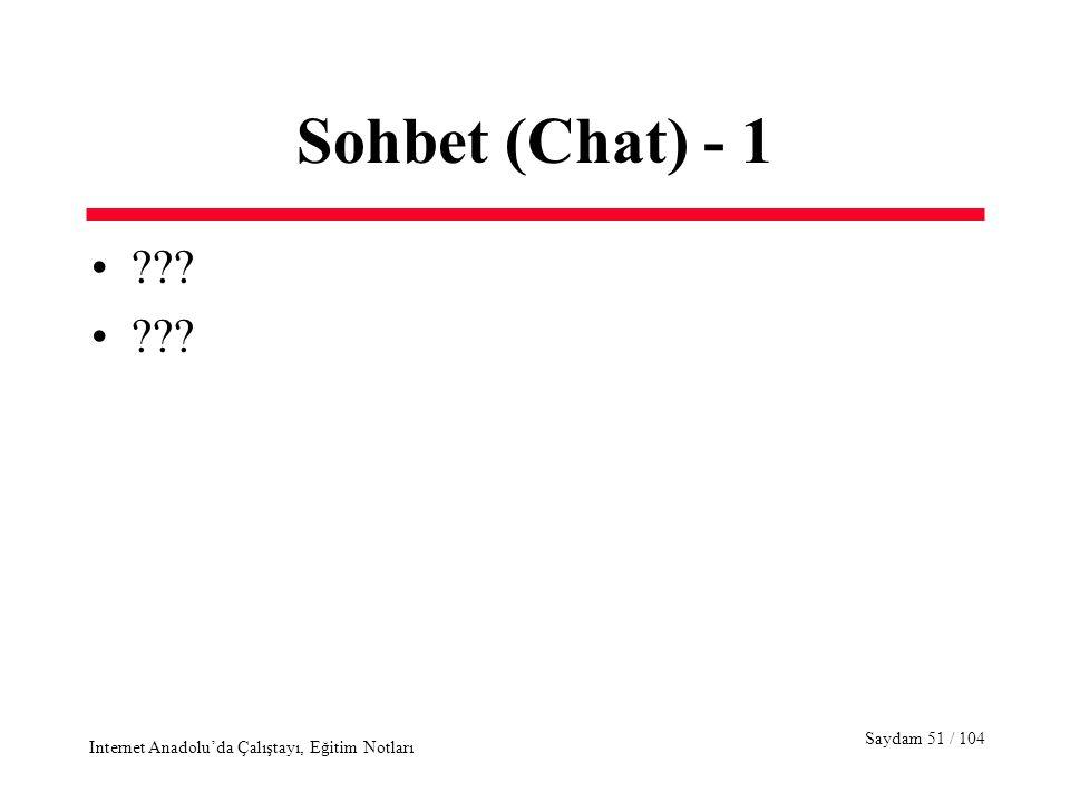Saydam 51 / 104 Internet Anadolu'da Çalıştayı, Eğitim Notları Sohbet (Chat) - 1 ???
