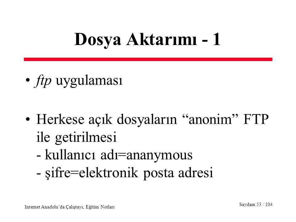 Saydam 53 / 104 Internet Anadolu'da Çalıştayı, Eğitim Notları Dosya Aktarımı - 1 ftp uygulaması Herkese açık dosyaların anonim FTP ile getirilmesi - kullanıcı adı=ananymous - şifre=elektronik posta adresi