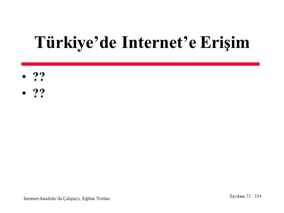 Saydam 55 / 104 Internet Anadolu'da Çalıştayı, Eğitim Notları Türkiye'de Internet'e Erişim