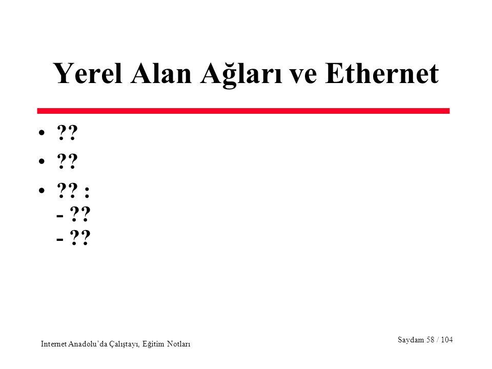 Saydam 58 / 104 Internet Anadolu'da Çalıştayı, Eğitim Notları Yerel Alan Ağları ve Ethernet ?? ?? : - ?? - ??