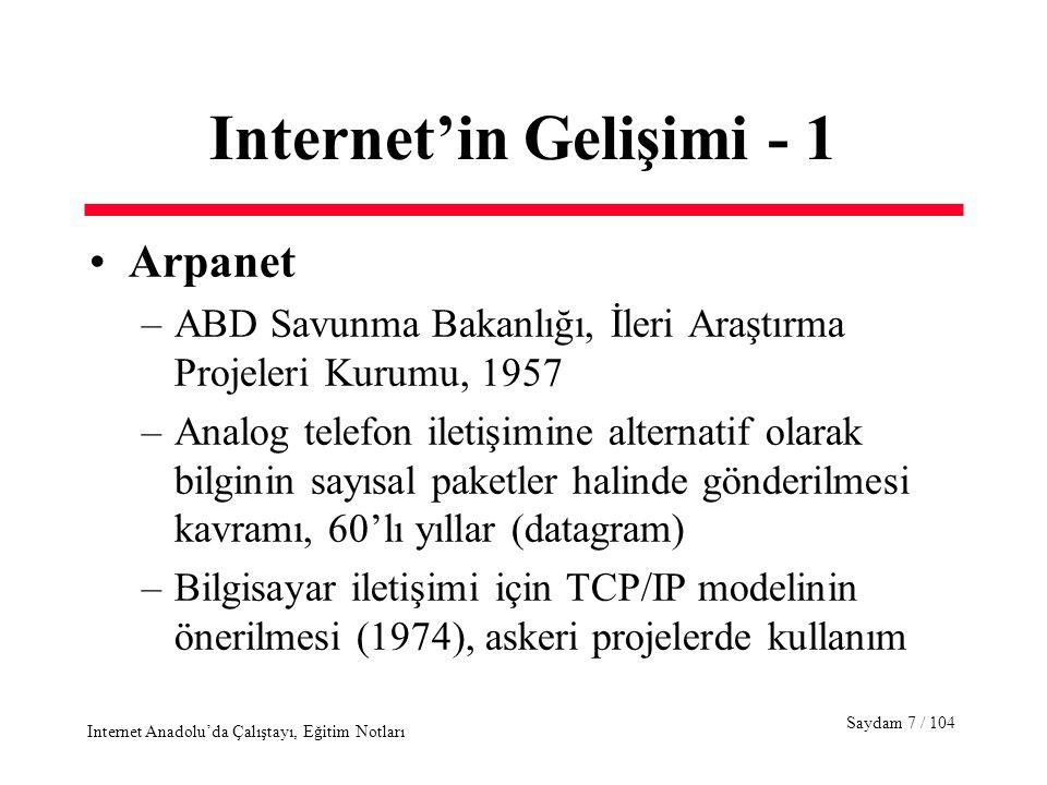 Saydam 8 / 104 Internet Anadolu'da Çalıştayı, Eğitim Notları Internet'in Gelişimi - 2 NSFNET –ABD, Ulusal Bilim Vakfı'nın (NSF) 1984'de askeri proje yapmayan üniversite ve kurumlara ARPANET alternatifi sunması ve Internet –Önce 56Kbps ve 1.5Mbps daha sonra 45 Mbps hızında bağlantılar, MERIT, MCI, IBM konsorsiyumu Ticari ağ/IP servisleri, 1990'ların başı