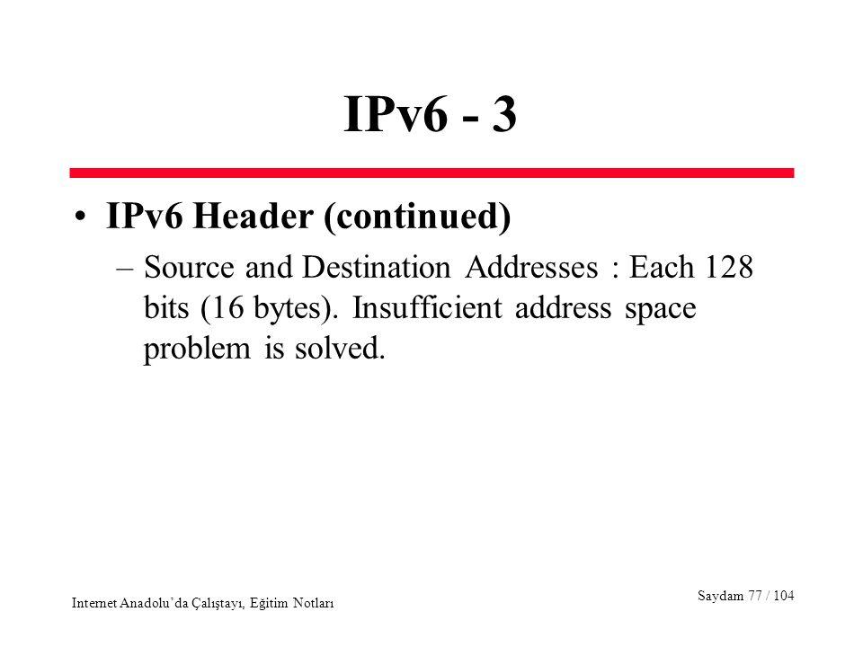 Saydam 77 / 104 Internet Anadolu'da Çalıştayı, Eğitim Notları IPv6 - 3 IPv6 Header (continued) –Source and Destination Addresses : Each 128 bits (16 b