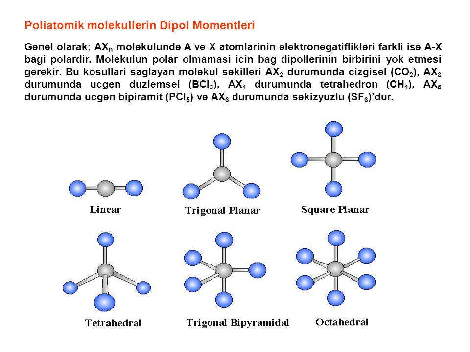 Poliatomik molekullerin Dipol Momentleri Genel olarak; AX n molekulunde A ve X atomlarinin elektronegatiflikleri farkli ise A-X bagi polardir. Molekul