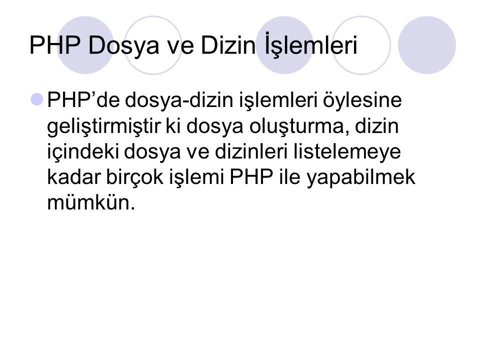 PHP Dosya ve Dizin İşlemleri PHP'de dosya-dizin işlemleri öylesine geliştirmiştir ki dosya oluşturma, dizin içindeki dosya ve dizinleri listelemeye ka