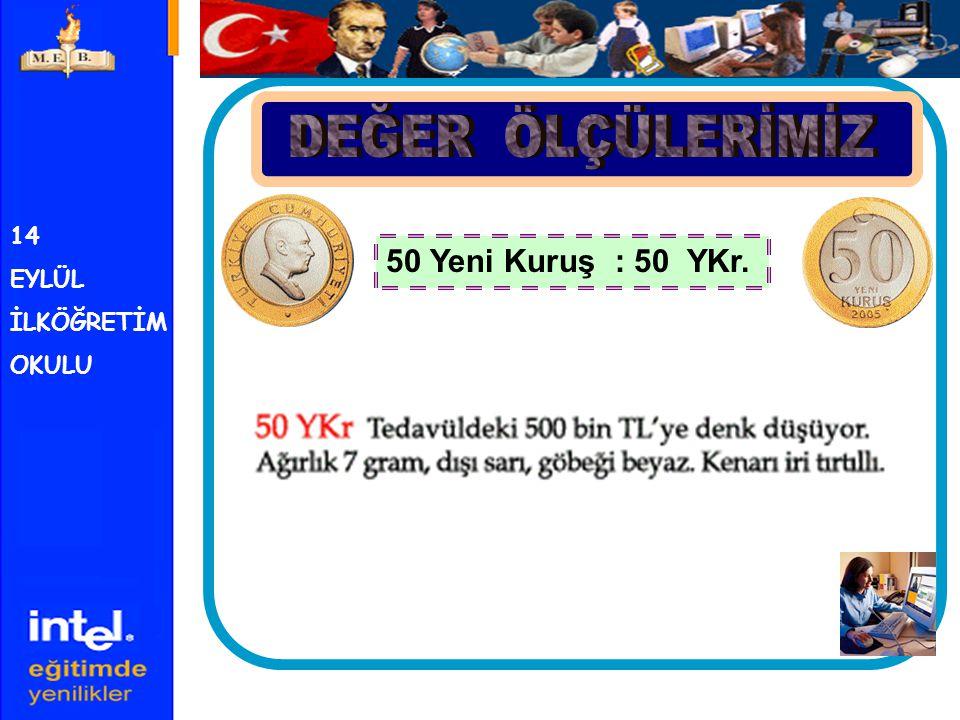 14 EYLÜL İLKÖĞRETİM OKULU 1 Yeni Türk Lirası : 1 YTL. 1 YTL. = 100 YKr