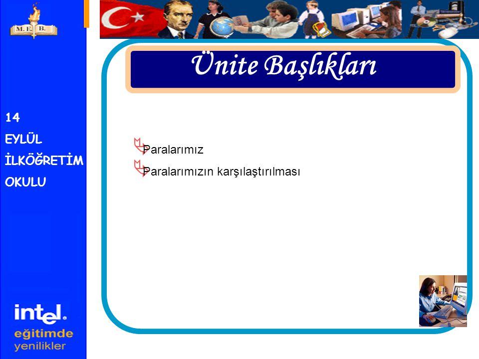 14 EYLÜL İLKÖĞRETİM OKULU Bu Ünitenin Sonunda;  Yeni Türk Lirasını,  Paraları karşılaştırmayı Öğreneceğiz
