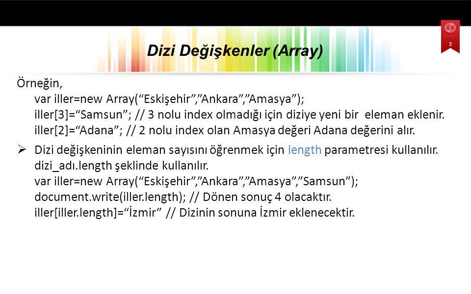 Örneğin, var iller=new Array( Eskişehir , Ankara , Amasya ); iller[3]= Samsun ; // 3 nolu index olmadığı için diziye yeni bir eleman eklenir.