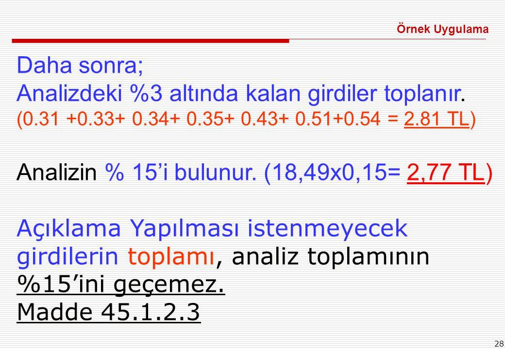 28 Daha sonra; Analizdeki %3 altında kalan girdiler toplanır. (0.31 +0.33+ 0.34+ 0.35+ 0.43+ 0.51+0.54 = 2.81 TL) Analizin % 15'i bulunur. (18,49x0,15