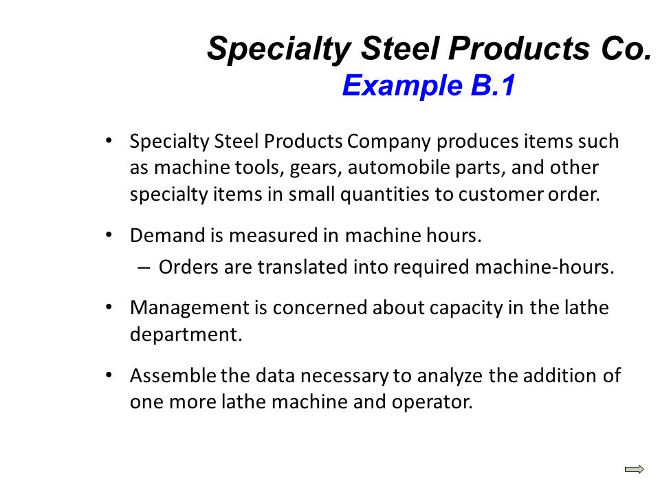 Specialty Steel Products Company produces items such as machine tools, gears, automobile parts, and other specialty items in small quantities to custo