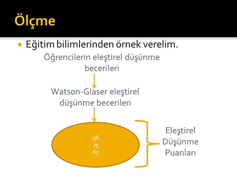  Eğitim bilimlerinden örnek verelim. Öğrencilerin eleştirel düşünme becerileri Watson-Glaser eleştirel düşünme becerileri.96.75.65 Eleştirel Düşünme