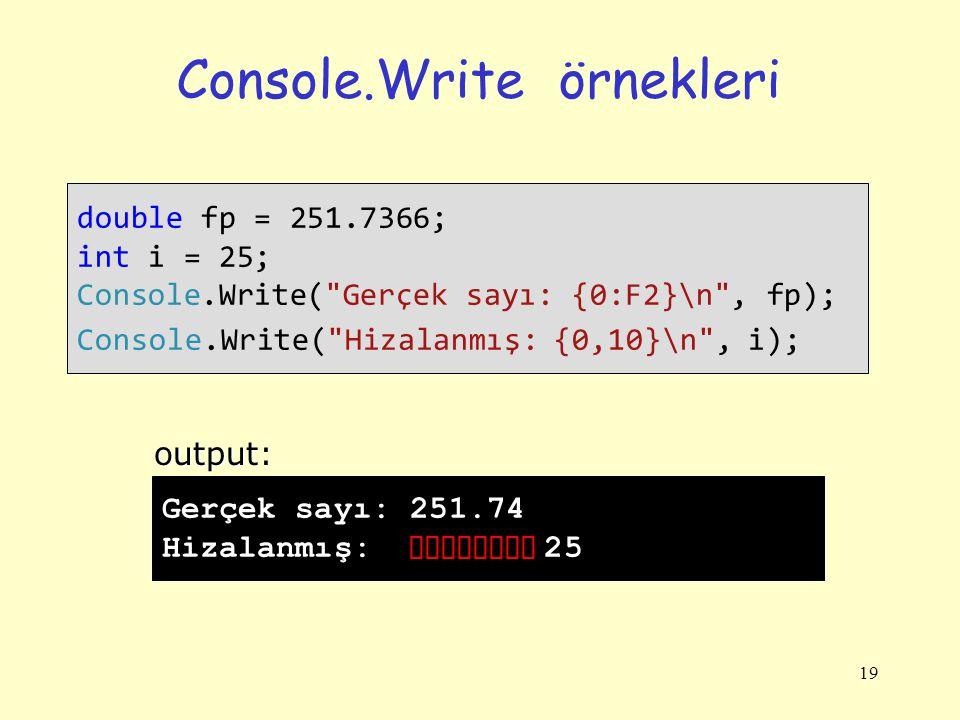 Console.Write örnekleri 19 double fp = 251.7366; int i = 25; Console.Write( Gerçek sayı: {0:F2}\n , fp); Console.Write( Hizalanmış: {0,10}\n , i); Gerçek sayı: 251.74 Hizalanmış: 25output: