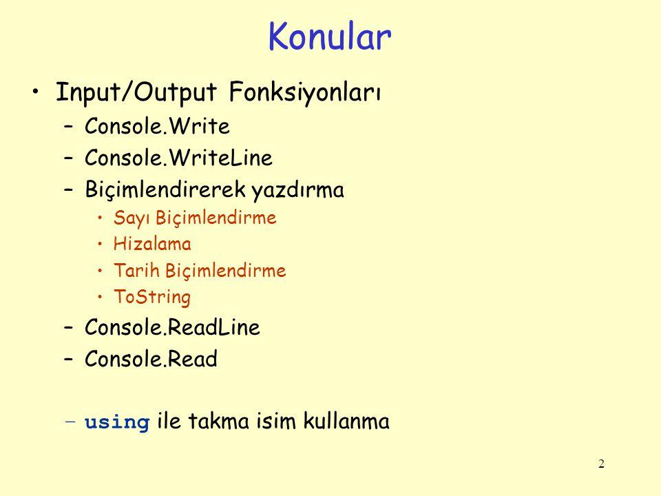 Konular Input/Output Fonksiyonları –Console.Write –Console.WriteLine –Biçimlendirerek yazdırma Sayı Biçimlendirme Hizalama Tarih Biçimlendirme ToString –Console.ReadLine –Console.Read –using ile takma isim kullanma 2