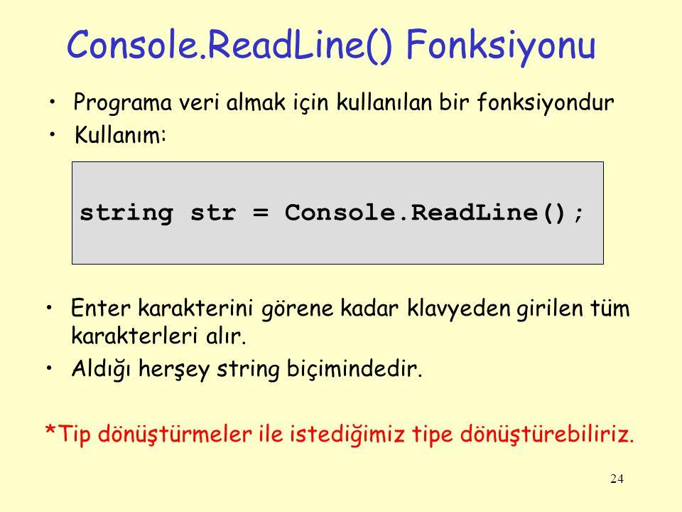 Console.ReadLine() Fonksiyonu Programa veri almak için kullanılan bir fonksiyondur Kullanım: 24 string str = Console.ReadLine(); Enter karakterini gör