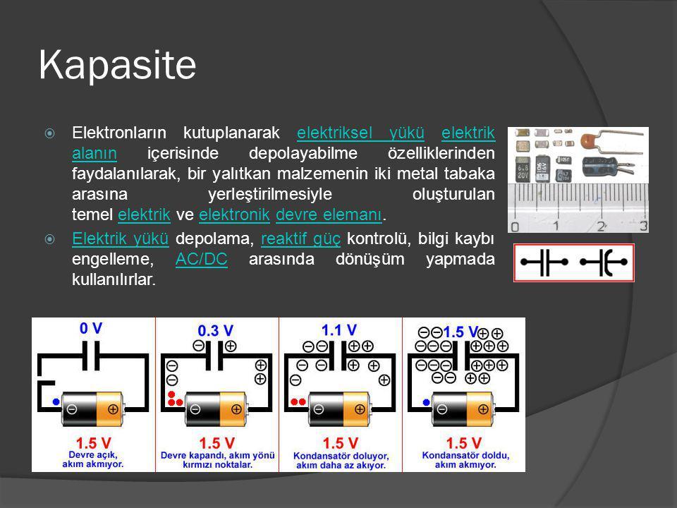 Kapasite  Elektronların kutuplanarak elektriksel yükü elektrik alanın içerisinde depolayabilme özelliklerinden faydalanılarak, bir yalıtkan malzemeni