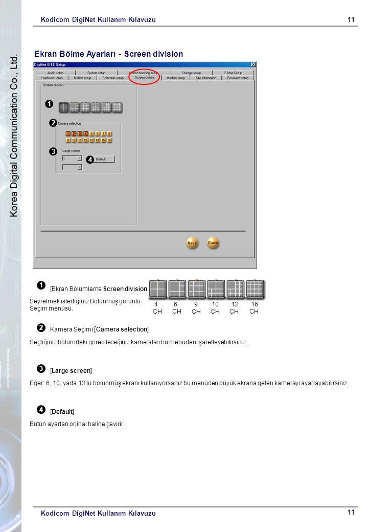 Kodicom DigiNet Kullanım Kılavuzu11 Kodicom DigiNet Kullanım Kılavuzu Ekran Bölme Ayarları - Screen division 1 2 3 4 1 [Ekran Bölümleme Screen division] Seyretmek istediğiniz Bölünmüş görüntü Seçim menüsü.