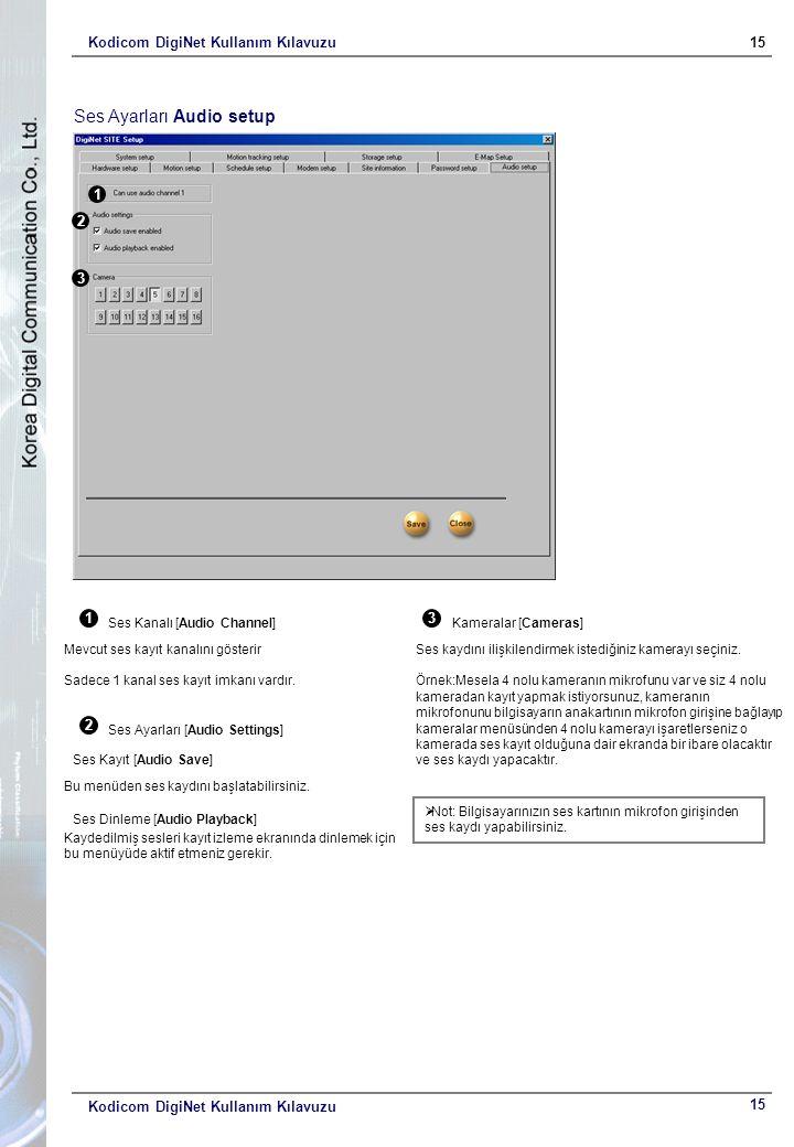 Kodicom DigiNet Kullanım Kılavuzu15 Kodicom DigiNet Kullanım Kılavuzu Ses Ayarları Audio setup 1 2 3 1 Ses Kanalı [Audio Channel] Mevcut ses kayıt kanalını gösterir Sadece 1 kanal ses kayıt imkanı vardır.
