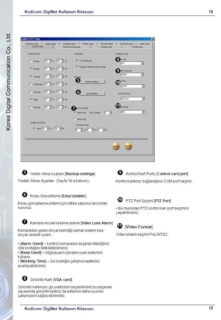 Kodicom DigiNet Kullanım Kılavuzu18 Kodicom DigiNet Kullanım Kılavuzu 5 6 7 8 9 10 1 5 Yedek Alma Ayarları [Backup settings] Yedek Alma Ayarları (Sayfa 19'a bakınız).