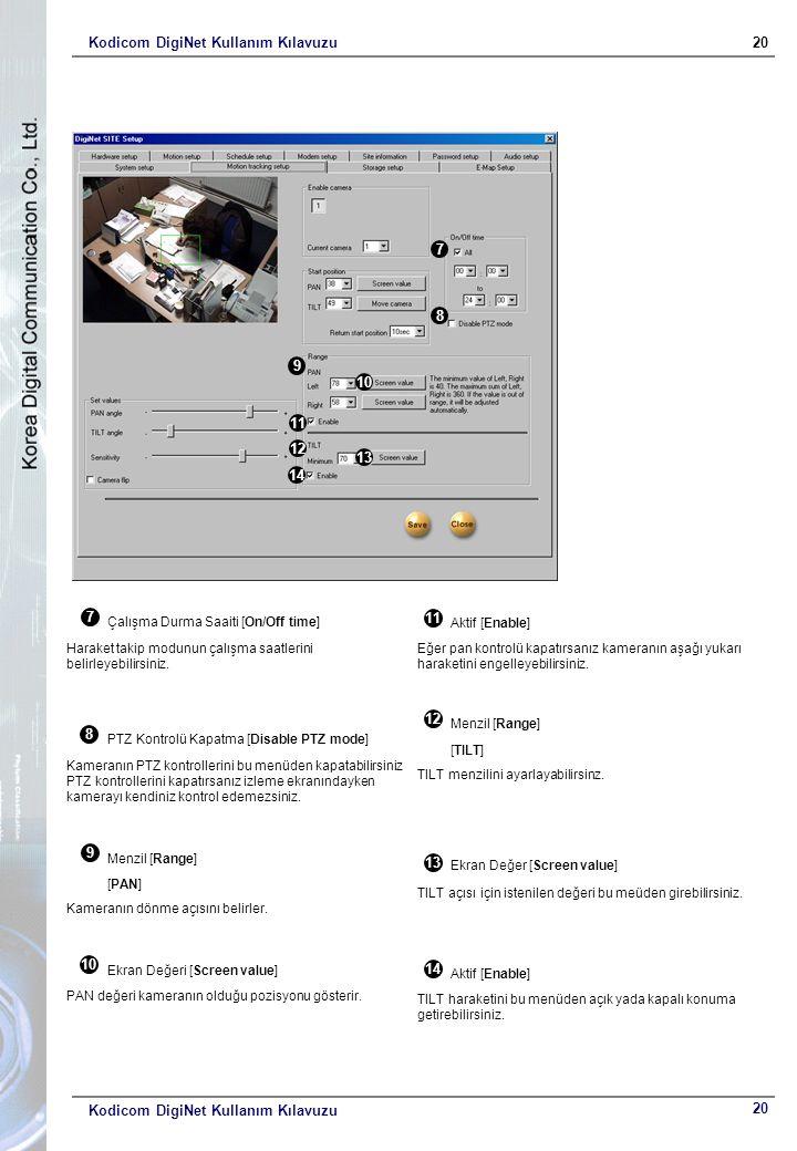 Kodicom DigiNet Kullanım Kılavuzu20 Kodicom DigiNet Kullanım Kılavuzu 9 10 11 12 13 14 9 Menzil [Range] [PAN] Kameranın dönme açısını belirler. 10 Ekr