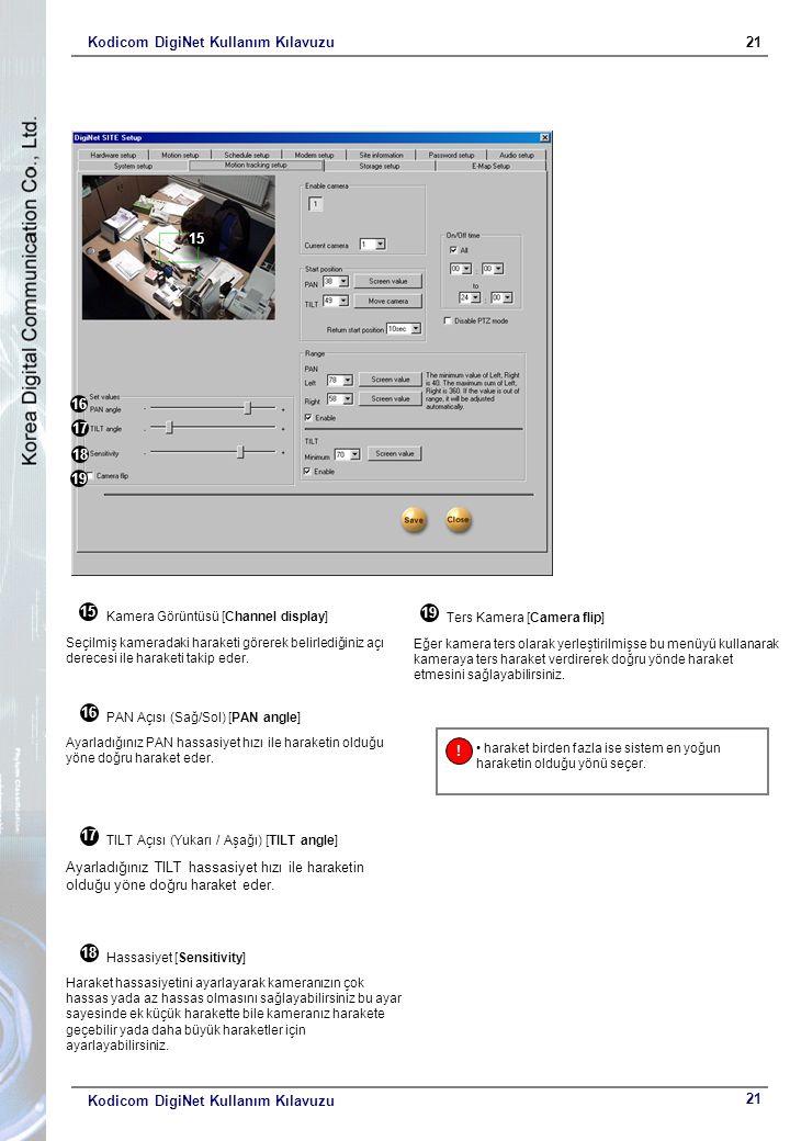 Kodicom DigiNet Kullanım Kılavuzu21 Kodicom DigiNet Kullanım Kılavuzu 15 16 17 18 19 15 Kamera Görüntüsü [Channel display] Seçilmiş kameradaki haraketi görerek belirlediğiniz açı derecesi ile haraketi takip eder.