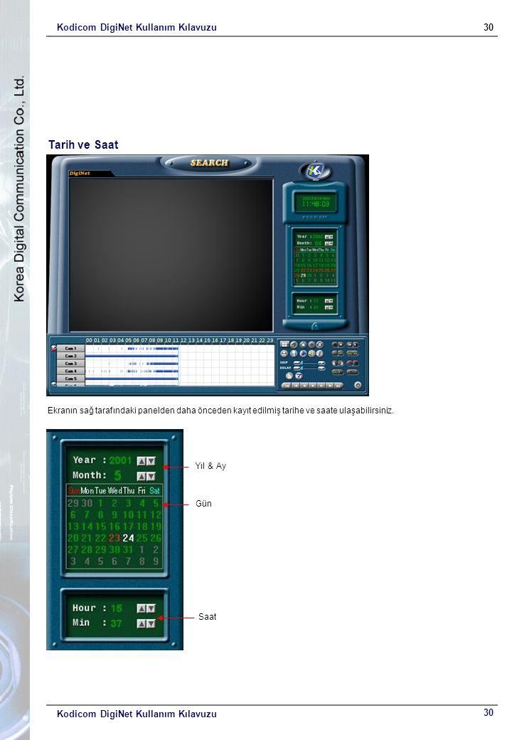 Kodicom DigiNet Kullanım Kılavuzu30 Kodicom DigiNet Kullanım Kılavuzu Tarih ve Saat Ekranın sağ tarafındaki panelden daha önceden kayıt edilmiş tarihe ve saate ulaşabilirsiniz.