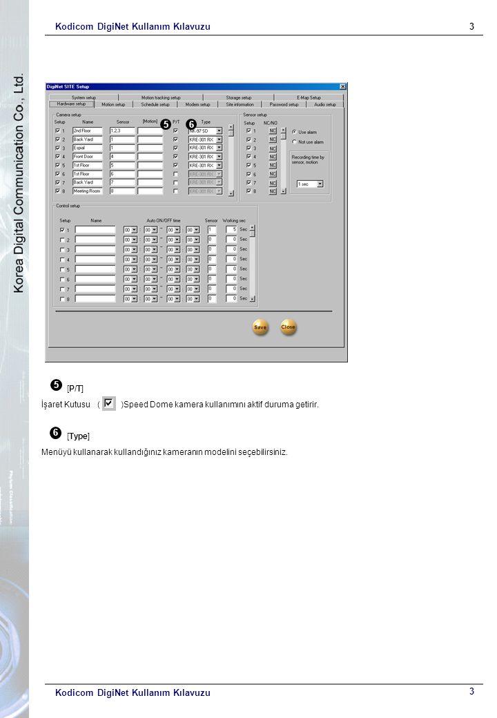 Kodicom DigiNet Kullanım Kılavuzu3 3 5 [P/T] İşaret Kutusu ( )Speed Dome kamera kullanımını aktif duruma getirir. 6 [Type] Menüyü kullanarak kullandığ