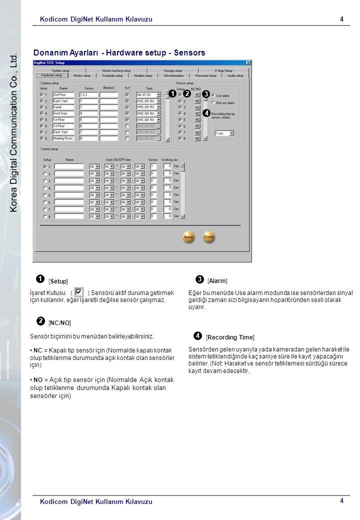 Kodicom DigiNet Kullanım Kılavuzu4 4 Donanım Ayarları - Hardware setup - Sensors 12 3 4 1 [Setup] İşaret Kutusu ( ) Sensörü aktif duruma getirmek için kullanılır, eğer işaretli değilse sensör çalışmaz.