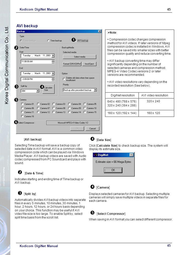 Kodicom DigiNet Manual45 Kodicom DigiNet Manual AVI backup 1 [AVI backup] Selecting Time backup will save a backup copy of selected date in AVI format.
