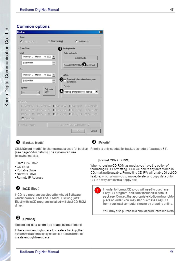 Kodicom DigiNet Manual47 Kodicom DigiNet Manual [InCD Eject] InCD is a program developed by Ahead Software which formats CD-R and CD-RW. Clicking [InC