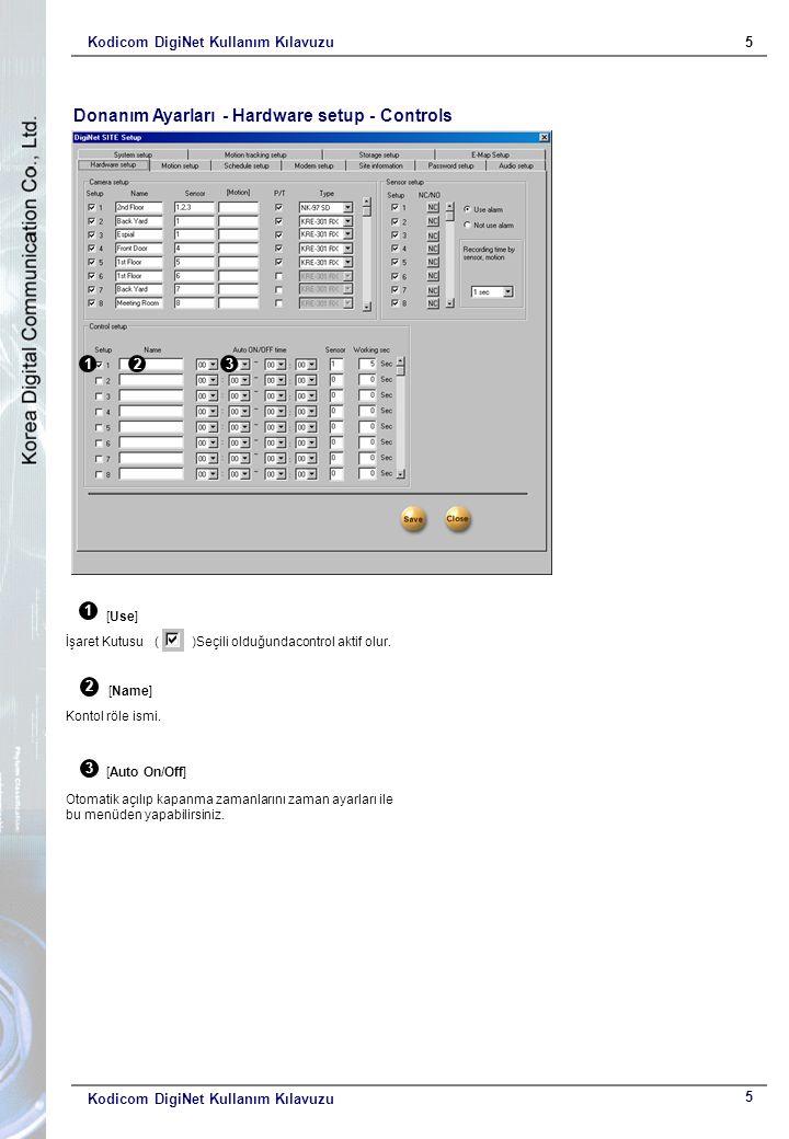 Kodicom DigiNet Kullanım Kılavuzu5 5 Donanım Ayarları - Hardware setup - Controls 1 123 [Use] İşaret Kutusu ( )Seçili olduğundacontrol aktif olur. 2 [