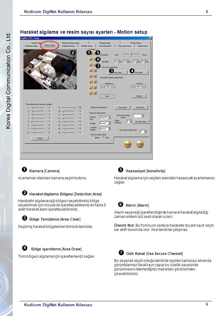 Kodicom DigiNet Kullanım Kılavuzu6 6 Haraket algılama ve resim sayısı ayarları - Motion setup 1 Kamera [Camera] Ayarlamak istenilen kamera seçim buton