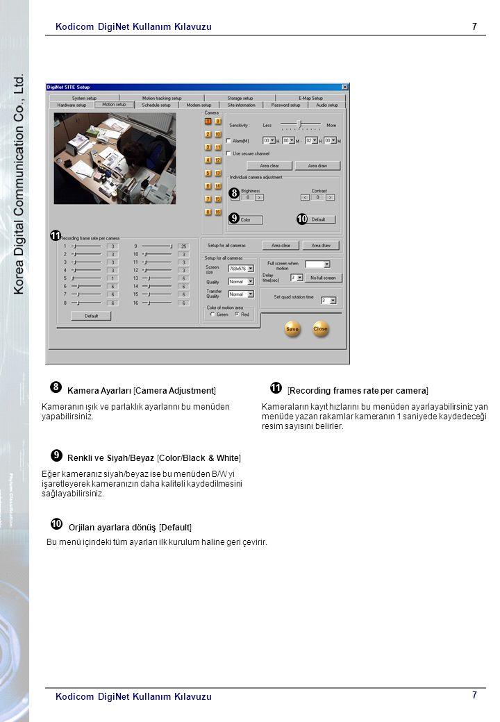 Kodicom DigiNet Kullanım Kılavuzu7 7 8 9 10 Kamera Ayarları [Camera Adjustment] Kameranın ışık ve parlaklık ayarlarını bu menüden yapabilirsiniz.
