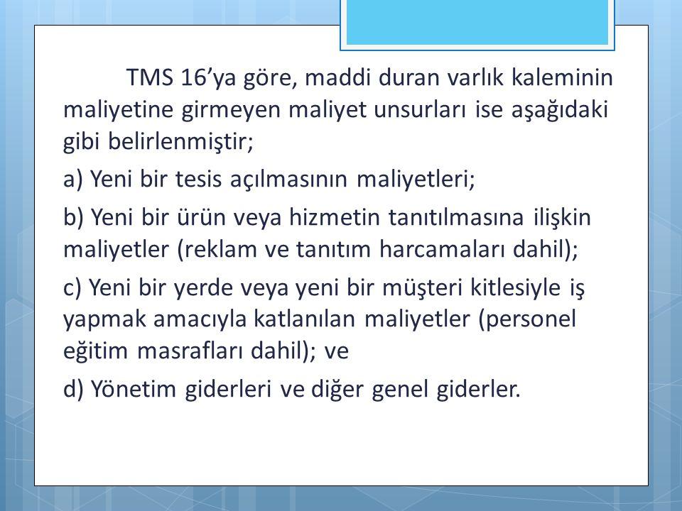 TMS 16'ya göre, maddi duran varlık kaleminin maliyetine girmeyen maliyet unsurları ise aşağıdaki gibi belirlenmiştir; a) Yeni bir tesis açılmasının ma