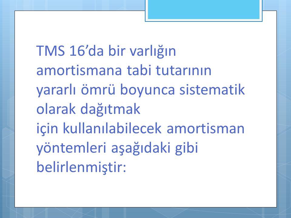 TMS 16'da bir varlığın amortismana tabi tutarının yararlı ömrü boyunca sistematik olarak dağıtmak için kullanılabilecek amortisman yöntemleri aşağıdak