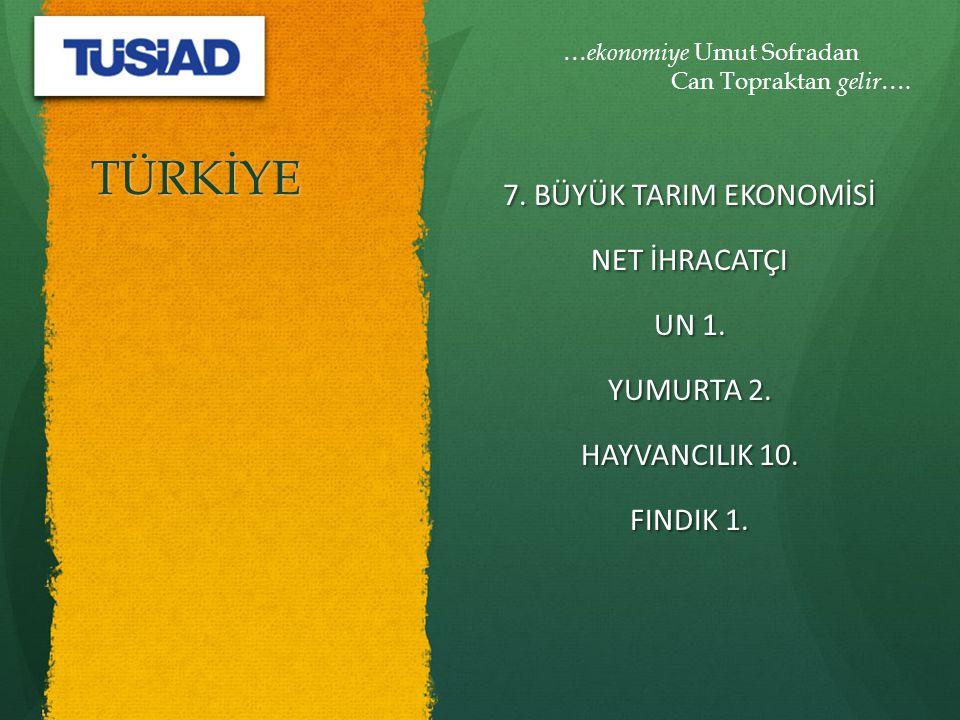 TÜRKİYE 7. BÜYÜK TARIM EKONOMİSİ NET İHRACATÇI UN 1.