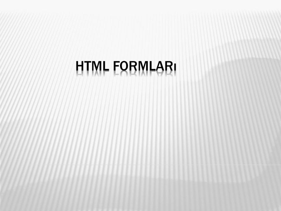  HTML nin en önemli araçlarından biri de bilgi girişinde kullanılan form kontrolleridir.