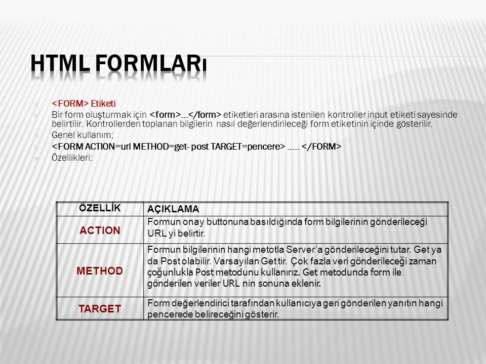  Etiketi  Bir form oluşturmak için … etiketleri arasına istenilen kontroller input etiketi sayesinde belirtilir.