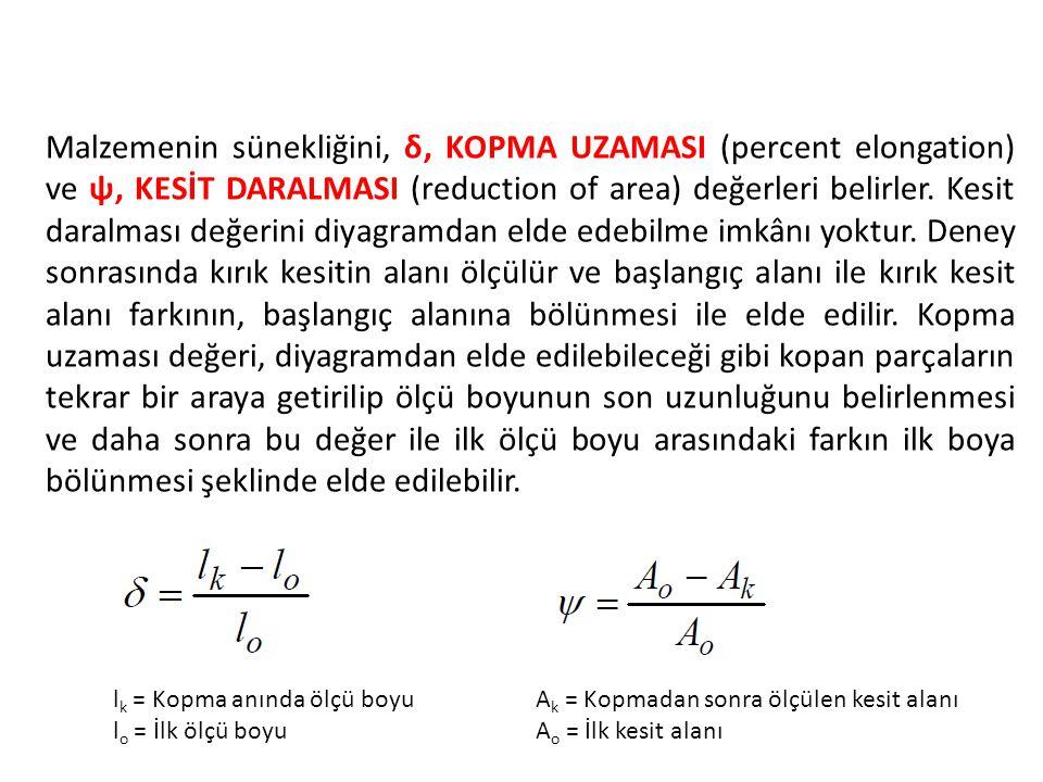 Malzemenin sünekliğini, δ, KOPMA UZAMASI (percent elongation) ve ψ, KESİT DARALMASI (reduction of area) değerleri belirler. Kesit daralması değerini d