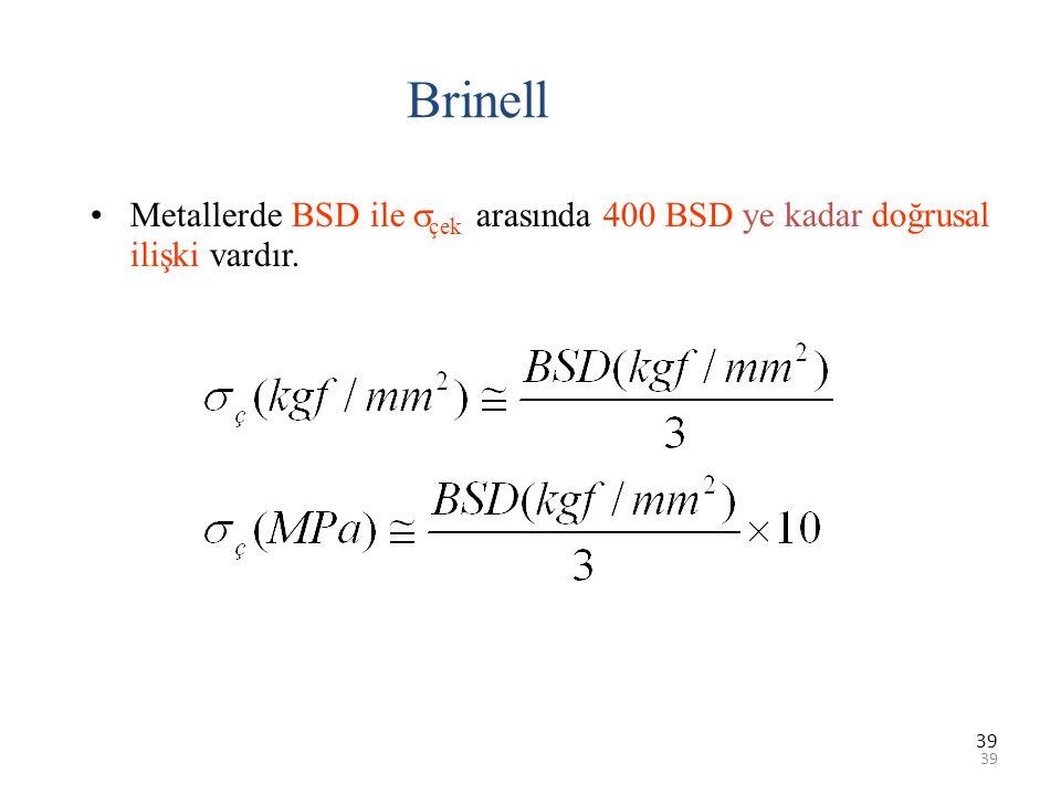 39 Brinell Metallerde BSD ile  çek arasında 400 BSD ye kadar doğrusal ilişki vardır.