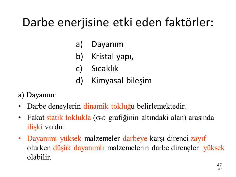 47 Darbe enerjisine etki eden faktörler: a)Dayanım b)Kristal yapı, c)Sıcaklık d)Kimyasal bileşim a) Dayanım: Darbe deneylerin dinamik tokluğu belirlem
