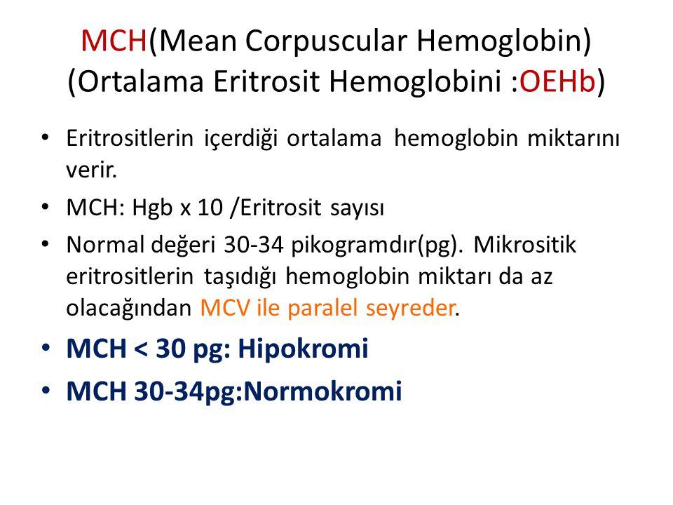 MCH(Mean Corpuscular Hemoglobin) (Ortalama Eritrosit Hemoglobini :OEHb) Eritrositlerin içerdiği ortalama hemoglobin miktarını verir.