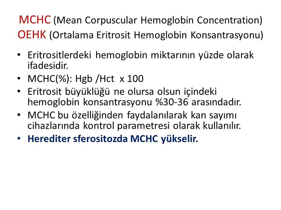 MCHC (Mean Corpuscular Hemoglobin Concentration) OEHK (Ortalama Eritrosit Hemoglobin Konsantrasyonu) Eritrositlerdeki hemoglobin miktarının yüzde olarak ifadesidir.