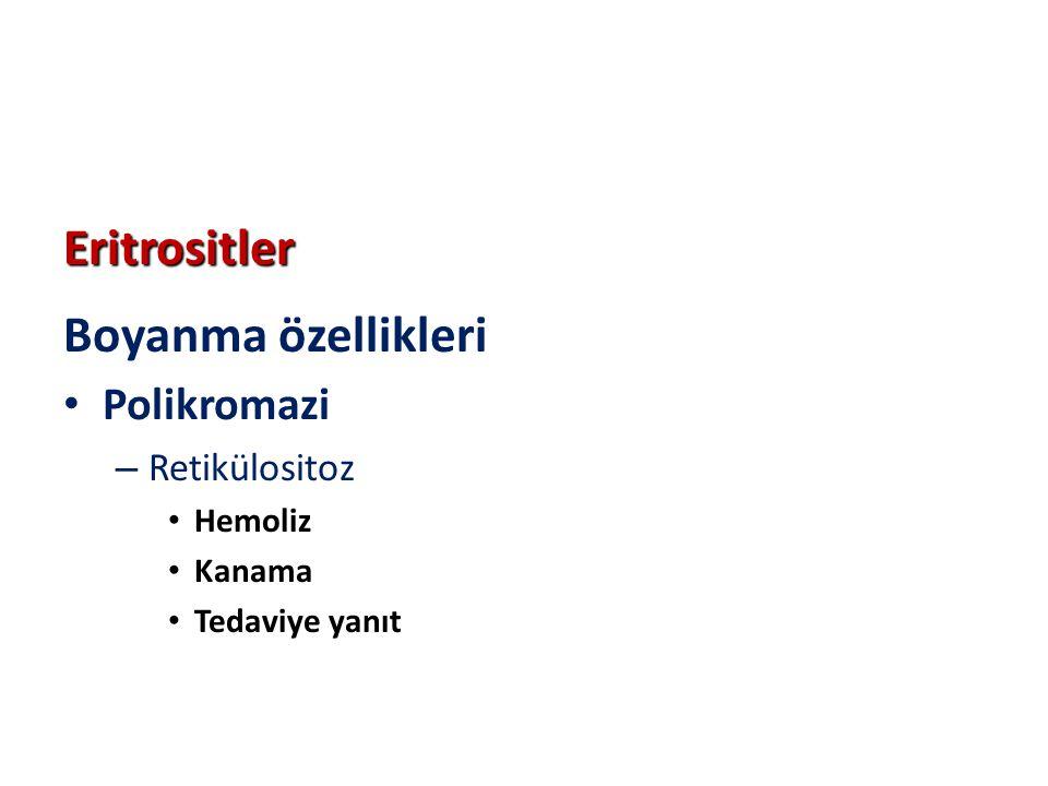 Eritrositler Boyanma özellikleri Polikromazi – Retikülositoz Hemoliz Kanama Tedaviye yanıt