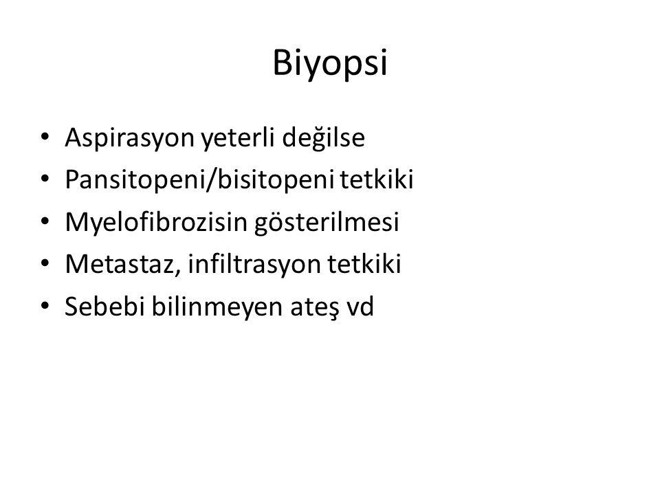Biyopsi Aspirasyon yeterli değilse Pansitopeni/bisitopeni tetkiki Myelofibrozisin gösterilmesi Metastaz, infiltrasyon tetkiki Sebebi bilinmeyen ateş vd