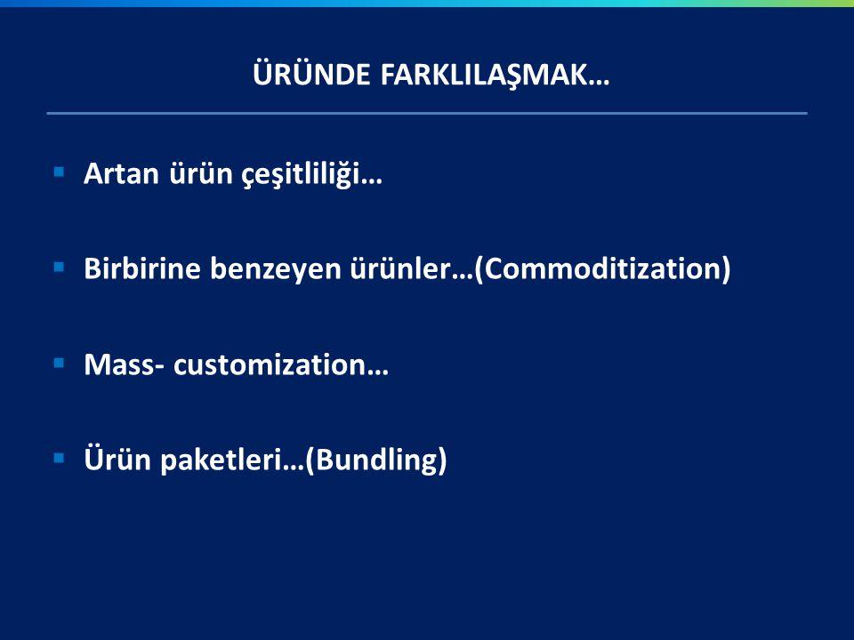 ÜRÜNDE FARKLILAŞMAK…  Artan ürün çeşitliliği…  Birbirine benzeyen ürünler…(Commoditization)  Mass- customization…  Ürün paketleri…(Bundling)
