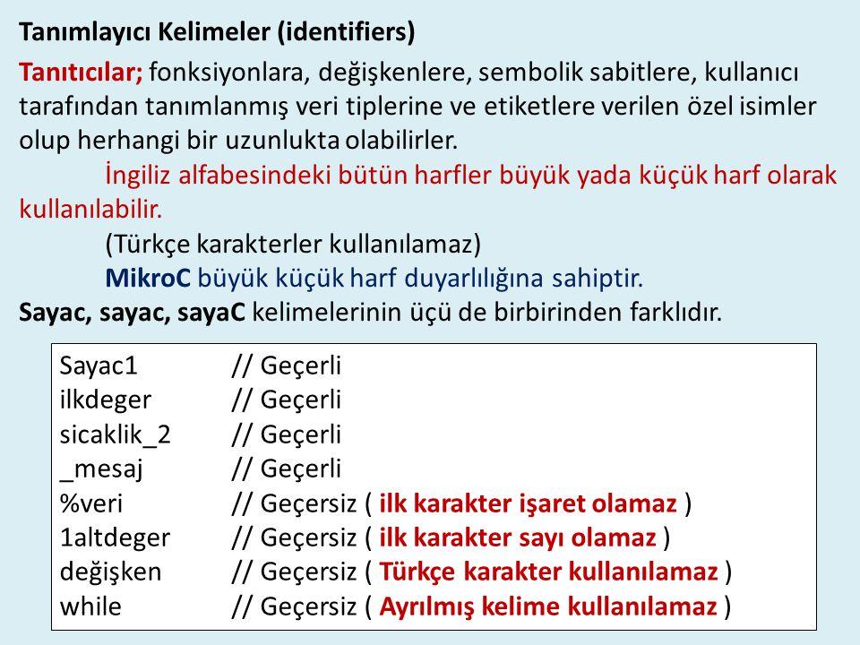 Tanımlayıcı Kelimeler (identifiers) Tanıtıcılar; fonksiyonlara, değişkenlere, sembolik sabitlere, kullanıcı tarafından tanımlanmış veri tiplerine ve e